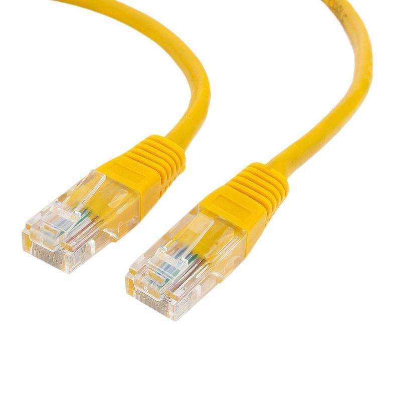 Патч-корд медный UTP Cablexpert PP10-5M/Y кат.5e, 5м, литой, многожильный (жёлтый)