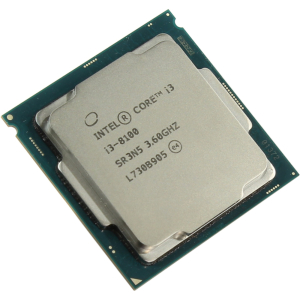 Процессор Intel Core i3-8100, CPU LGA1151v2, 3.60GHz, 4xCores, 6MB Cache L3, EMT64, Intel® UHD Graph...